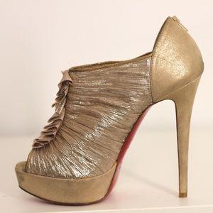 Louboutin Gold Ruffle Peep Toe Red Sole Heels